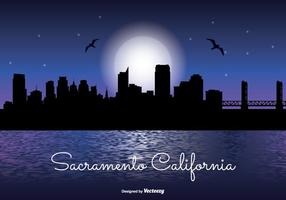 Sacramento natt skyline illustration
