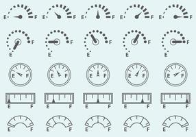 Iconos del vector del indicador de combustible