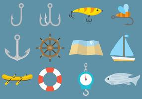 Iconos de la pesca del vector