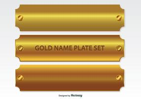 Golden Name Plates Set vector