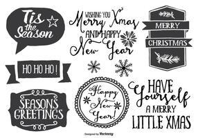 Lindo conjunto de etiquetas de estilo dibujado a mano desordenado de Navidad