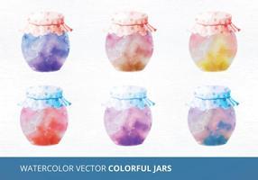 Acuarela vector jarras