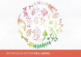 Watercolor Vector Fall Leaves