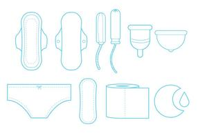 Feminine Hygiene Line Art Icon Set