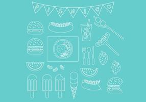 Picknick-Line-Icon-Set