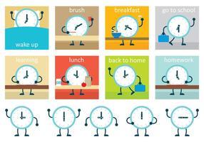 Calendario del reloj del vector