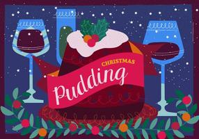 Christmas Pudding Vector Illustration