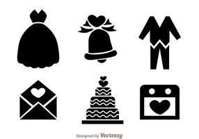 Icônes noires de mariage