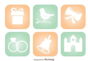 Wedding Round Square Icons