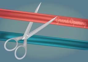 Ribbon Cutting Vector Illustration
