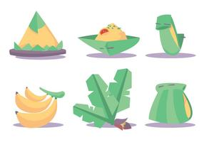 Banana Leaf Dishes Vector Set