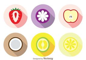 Slice Fruits Long Shadow Icons vector
