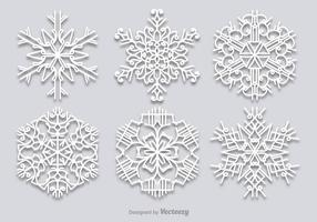 Conjunto de flocos de neve brancos