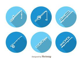 Fishing Rod Circle Icons