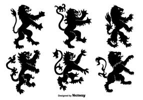 Lion rampant flat silhouettes vector