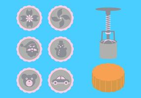 Vector Illustration of Moon Cake Accessories