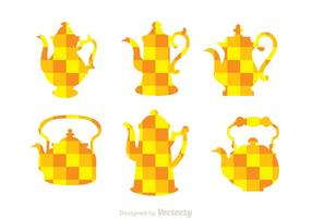 Arabic Coffee Pot Orange Mozaic Icons