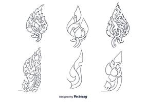 Handdragen thailändsk mönstervektor