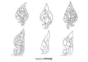 Hand getekende Thaise Patroon Vector
