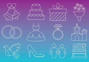 Wedding Thin Icons vector