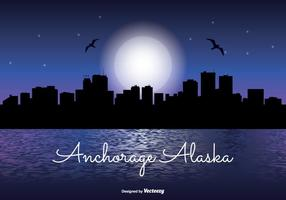 Anchorage alaska night skyline