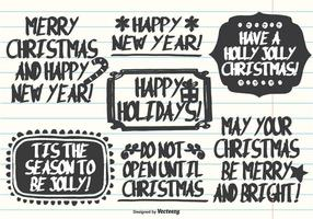 Hand Drawn Marker Pen Style Christmas Labels vector