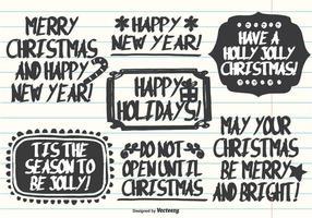 Handdragen Marker Pen Style Christmas Etiketter