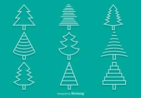 Line pine icons vector