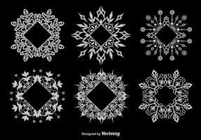 Dekorativa snöflingformade ramar