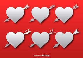 Corações com ícones de setas