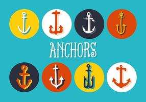 Free Set of Anchors Vector Background