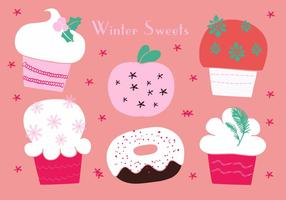 Christmas Cupcakes Icons Vector Background