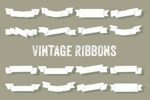 Set of Vintage Ribbons Vector Background