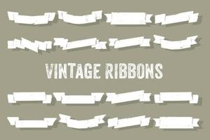 Set of Vintage Ribbons Vector Background