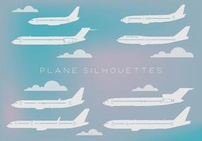Gratis uppsättning olika slags flygplan Silhouettes Vector