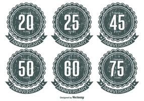 Grunge Anniversary Label Set vector
