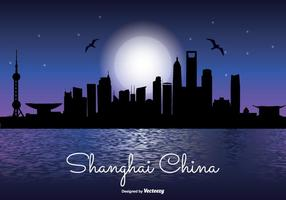 Shanghai natt skyline illustration