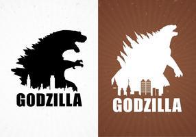 Vettore libero degli ambiti di provenienza del manifesto di film di Godzilla
