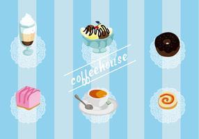 Libre de conjunto de elementos del vector de la casa del café