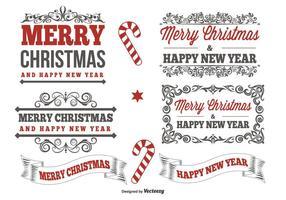 Typografische kerstlabel set