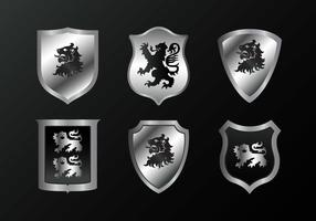 Silver Rampant Vector Lion