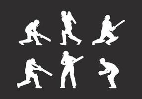 Silhouette Cricket Player Vector