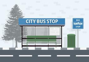City Bus Stop Vector Background