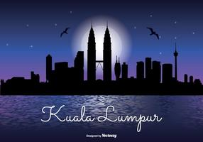 Kuala lumpur natt skyline illustration