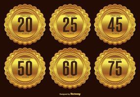 Guld årsdag märkesuppsättning