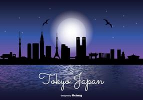 Tokyo japan natt skyline