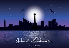 Jakarta Skyline de la noche de Indonesia