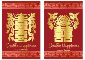 Conjunto de cartão de felicidade duplo chinês