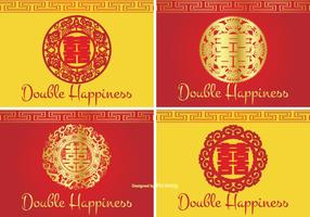 Chinese Double Happiness Symbol Label Set