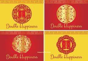 Chino doble felicidad símbolo conjunto de etiquetas